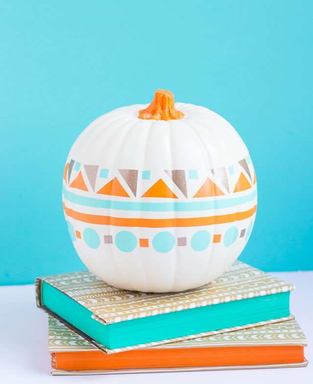 DIY modern geometric pumpkins in a bold color palette (via www.designimprovised.com)
