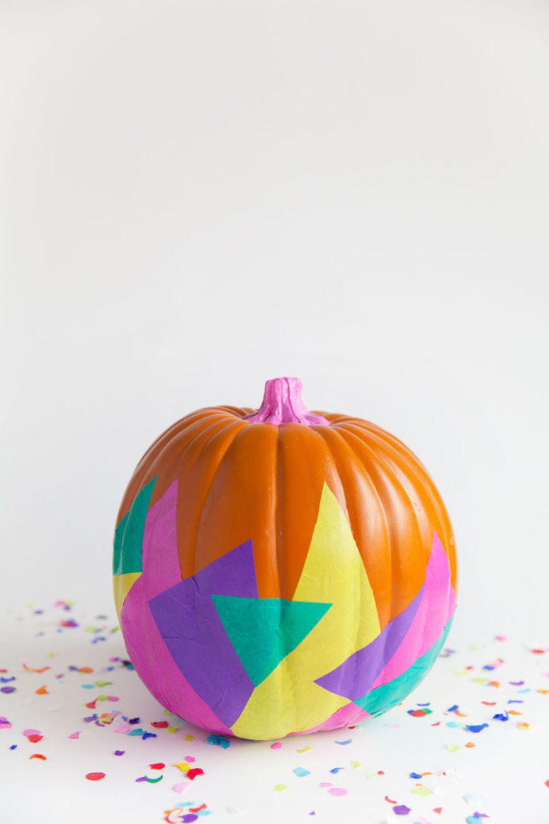 DIY bold geometric pumpkins with tissue decoupage (via tellloveandparty.com)