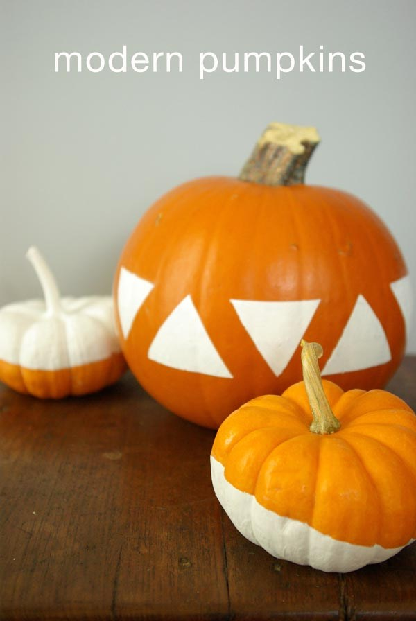 DIY bold orange pumpkins with white triangles (via oleanderandpalm.com)