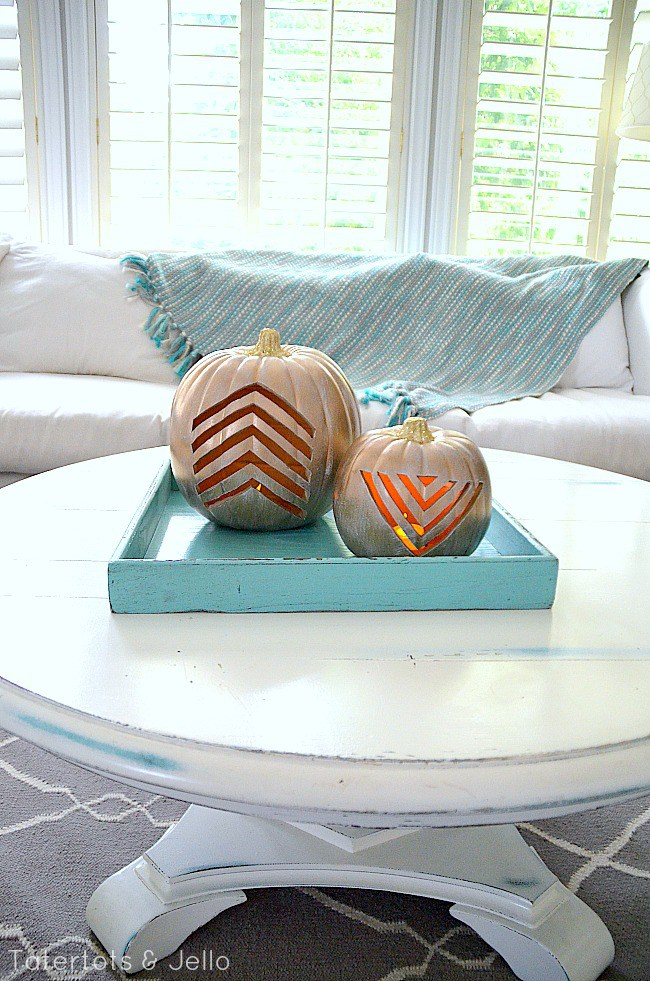 DIY carved chevron pumpkins as jack-o-lanterns (via tatertotsandjello.com)