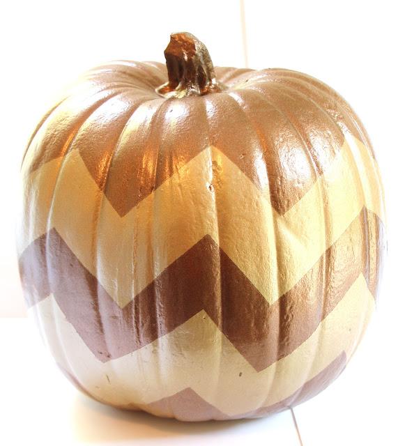 DIY elegant chevron pumpkins in fall colors