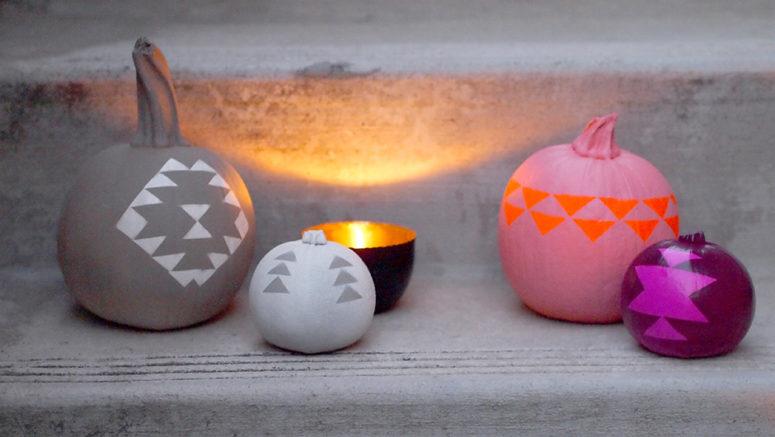 DIY colorful geometric pumpkin arrangement (via www.happymundane.com)