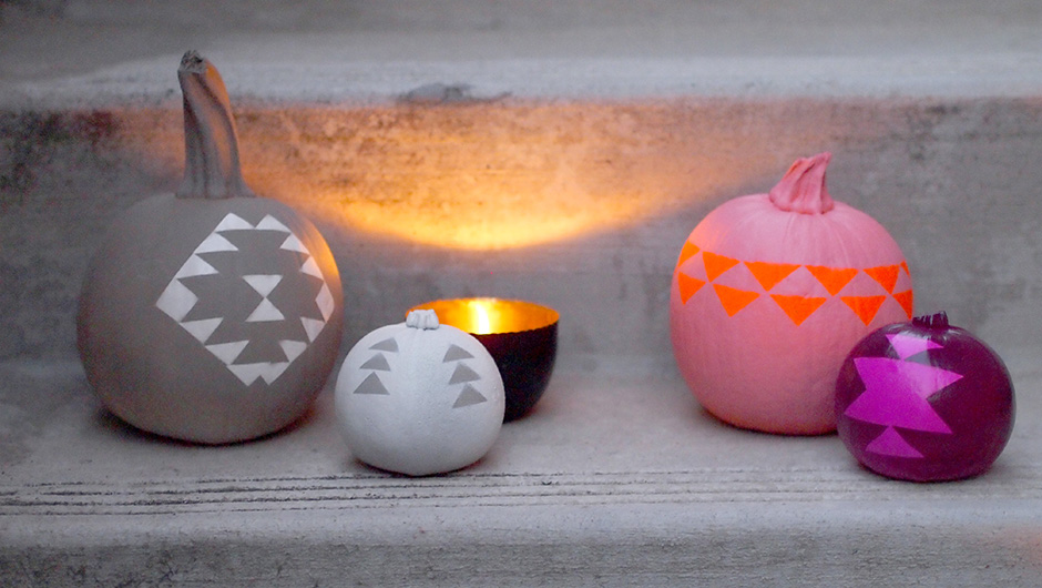 DIY colorful geometric pumpkin arrangement