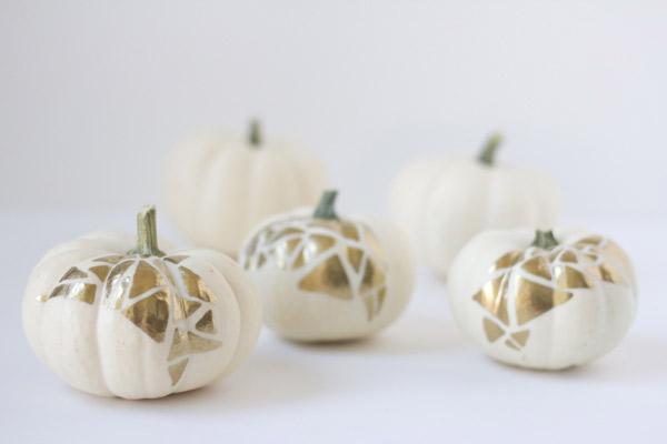 DIY gold geo no carve pumpkins for fall