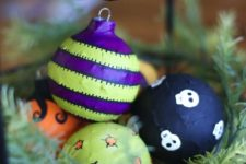 DIY colorful decoupage Halloween ornaments