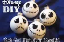 DIY Jack Skellington ornaments of white bulbs