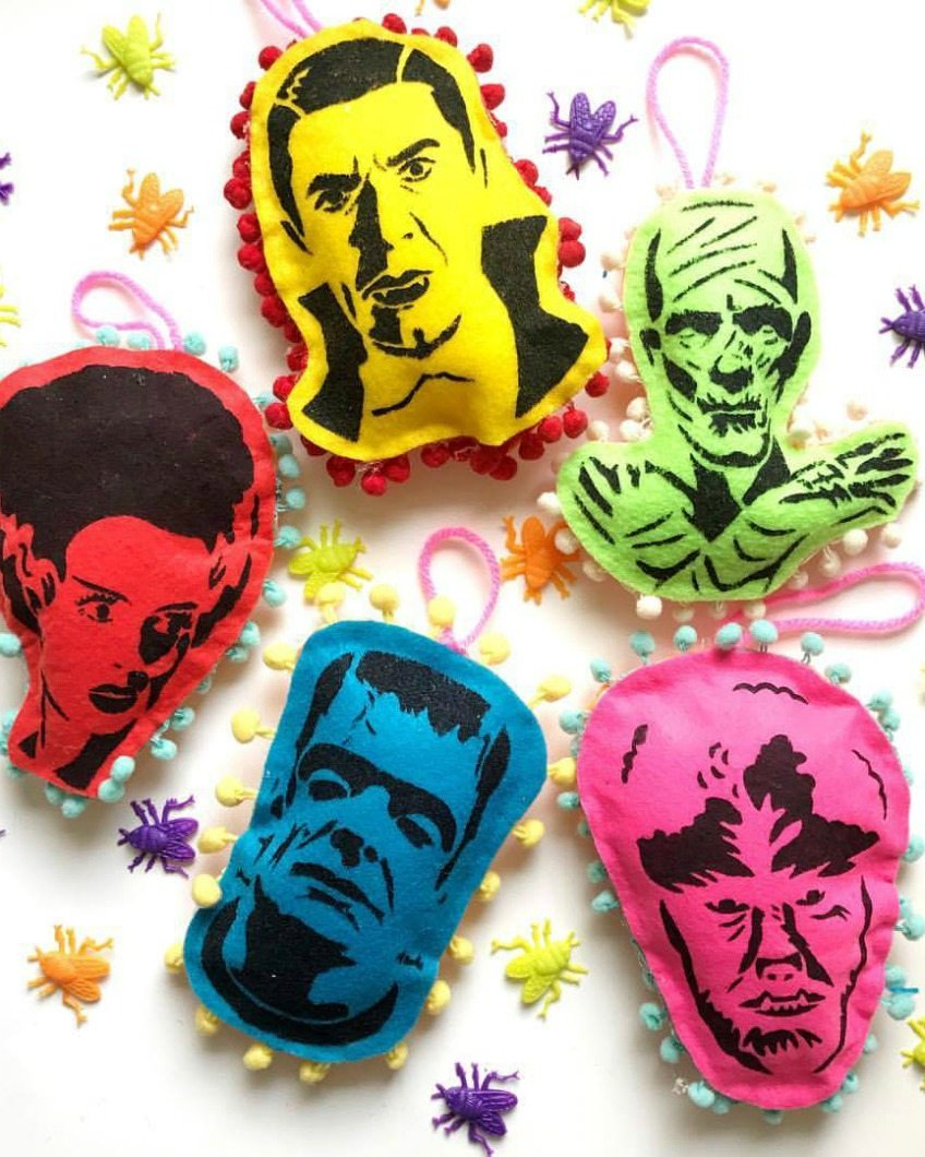 DIY stenciled and stuffed monster Halloween ornaments