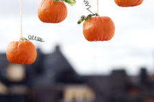 DIY pumpkin ornaments of polymer clay and wire