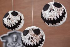 DIY yarn Jack Skellington ornaments