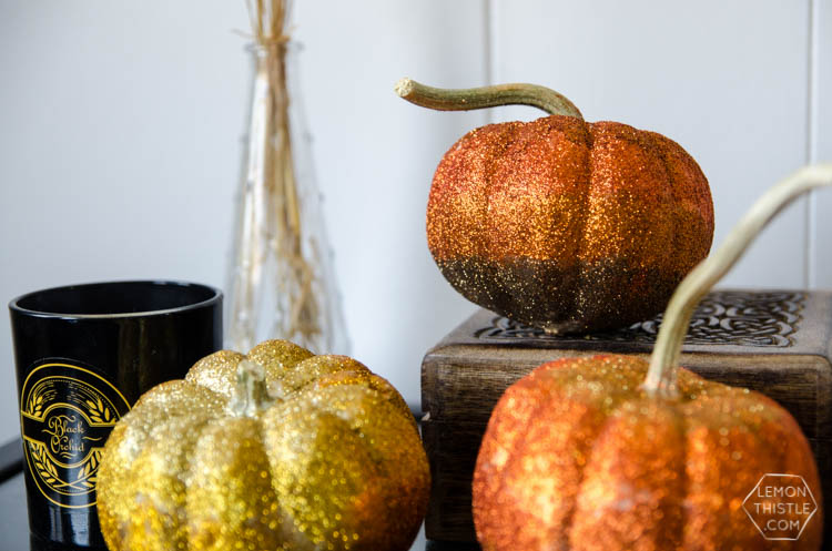 DIY ombre glitter pumpkins in fall shades (via www.lemonthistle.com)