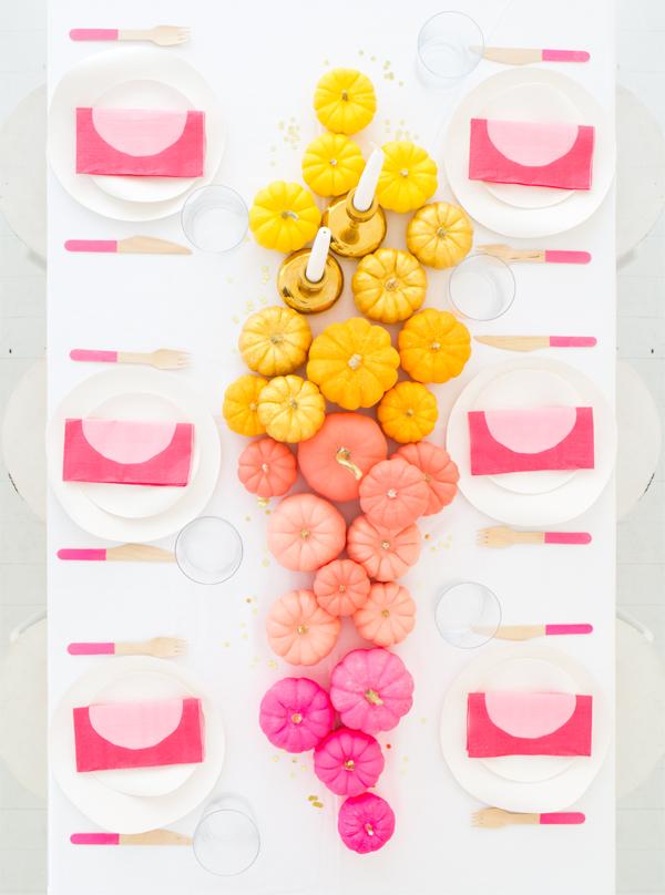 DIY super colorful mini pumpkin centerpiece (via ohhappyday.com)