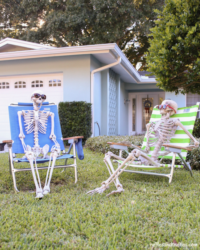 DIY skeleton display on the lawn