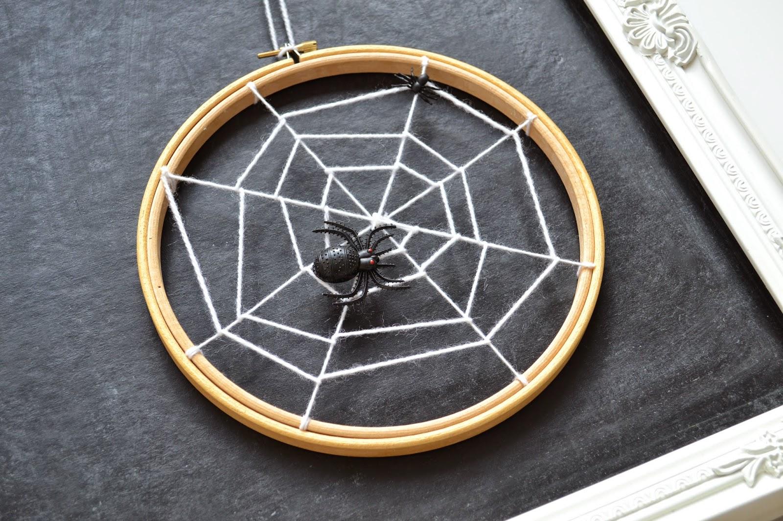 DIY spiderweb artwork of an embroidery hoop