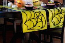 DIY neon spiderweb Halloween table runner