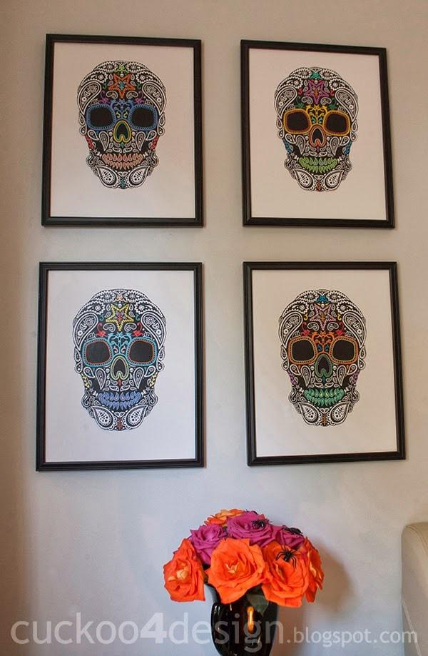DIY colorful sugar skull artworks of printed black and white skulls (via cuckoo4design.com)
