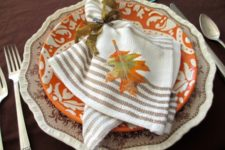 DIY colorful fall leaf applique napkin