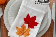 DIY fall napkins with decoupaged fall leaves