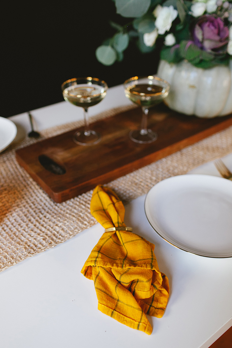 DIY overdyed fall napkins in bold colors