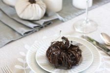 DIY neutrla fall tablecloth with ironed vinyl
