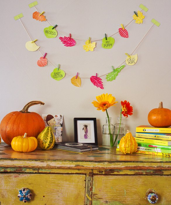 DIY colorful paper Thanksgiving banner