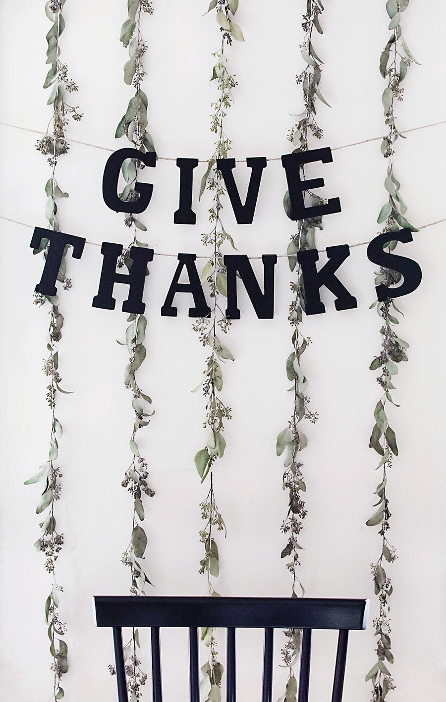 DIY block letter Thanksgiving garland