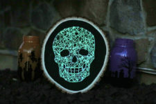 DIY glowing skull string art craft for Halloween