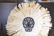 DIY sugar skull corn husk wreath