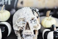 DIY creepy jeweled Halloween skull for a glam feel