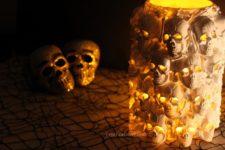 DIY boneyard lantern of plastic skulls