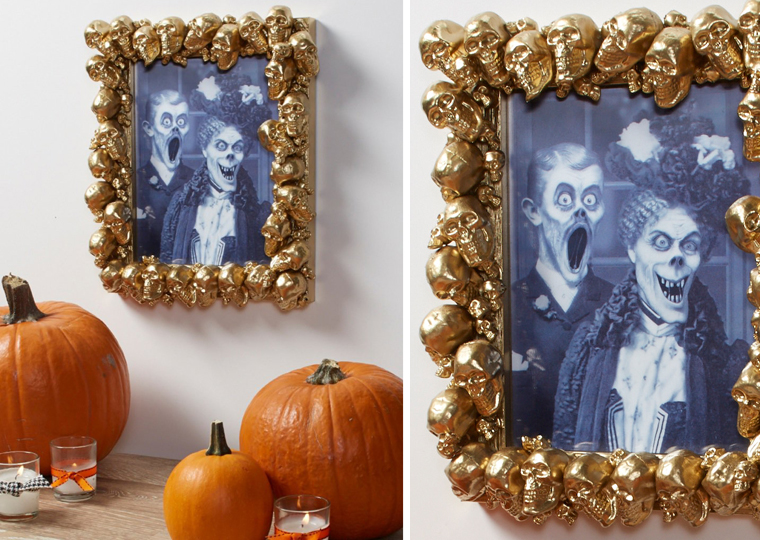 DIY refined and unusual gold skull frame (via dmcolor.com)