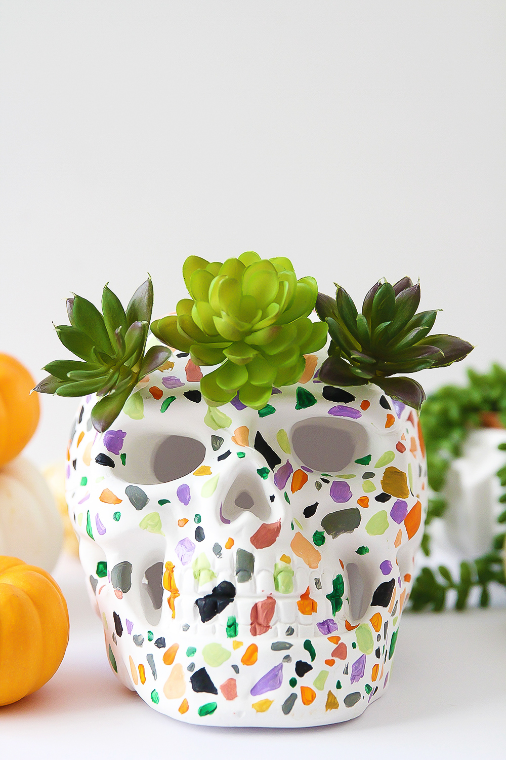 DIY terrazzo skull decoration for Halloween