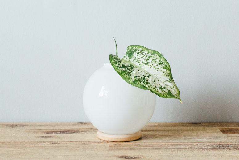 DIY modern vase of a glass sphere and a wooden ring (via matildigt.se)