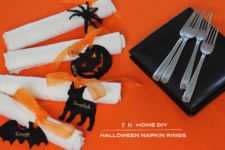 DIY personalized Halloween napkin rings of ribbon and felt charms
