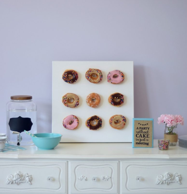 DIY modern mini donut wall using canvas (via www.bustle.com)