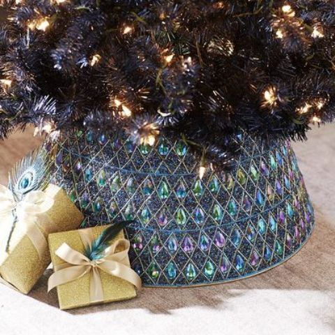 a colorful peacock beaded Christmas tree collar will fit most colorful tree decor ideas or spruce up a neutral tree