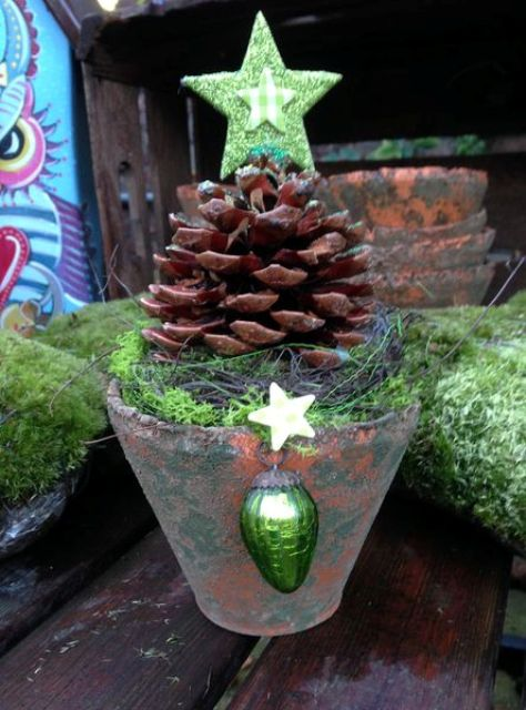 diy christmas tree with a vintage ornament