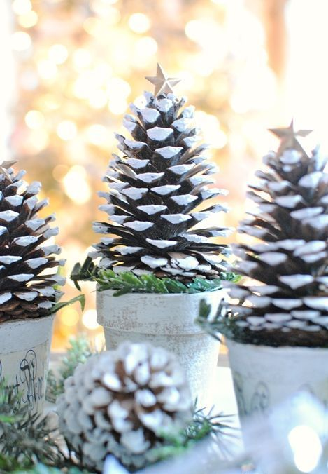 oversized pinecones can be used as trees themselves without any crafting, add a snowy edge to them