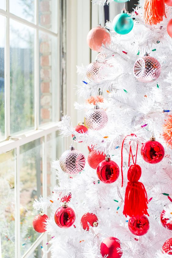 stylishly decorated white christmas tree