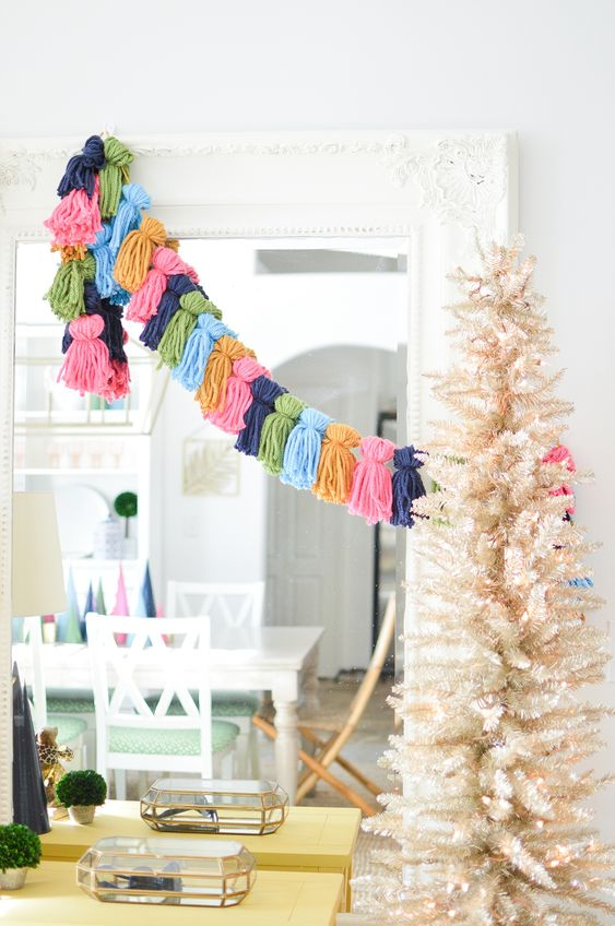 a colorful tassel garland is right what you need if your Christmas tree is plain and neutral