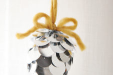 DIY large sequin ornament imitating a pinecone
