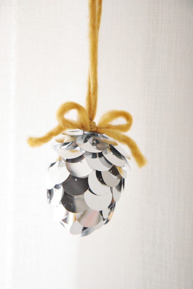 DIY large sequin ornament imitating a pinecone (via www.skunkboyblog.com)
