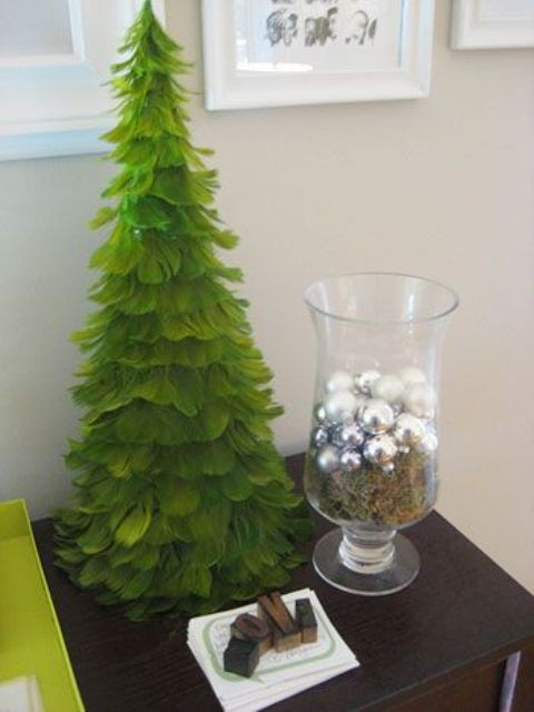 paint your feather Christmas tree green to make it look more Christmasssy if you want
