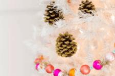 DIY gold glitter pinecone ornaments