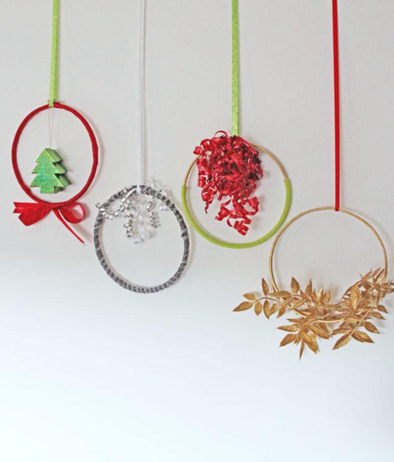DIY assortment of embroidery hoop wreaths for Christmas (via www.hometalk.com)