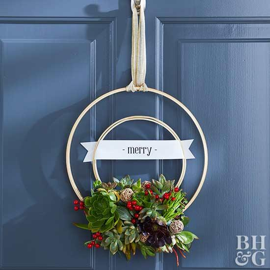 DIY double embroidery hoop wreath with fake succulents and berries (via www.bhg.com)