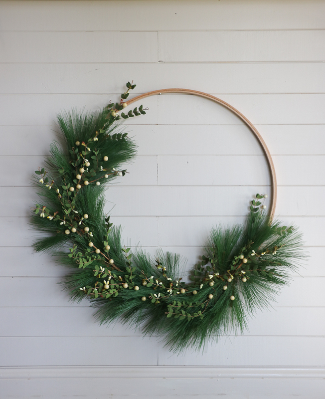 DIY easy embroidery hoop wreath with fake greenery and beads (via www.sincerelysarad.com)