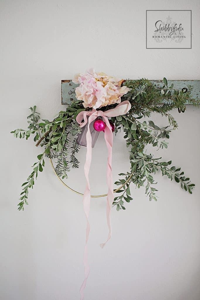 DIY fresh greenery and peony wreath for Christmas (via shabbyfufu.com)