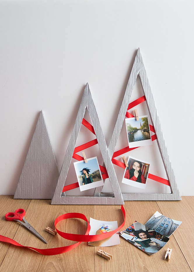 DIY recycled Christmas tree shaped card displays