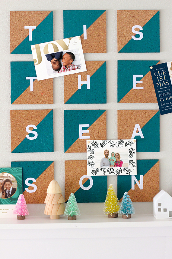 DIY colorful cork tile Christmas card display (via www.minted.com)