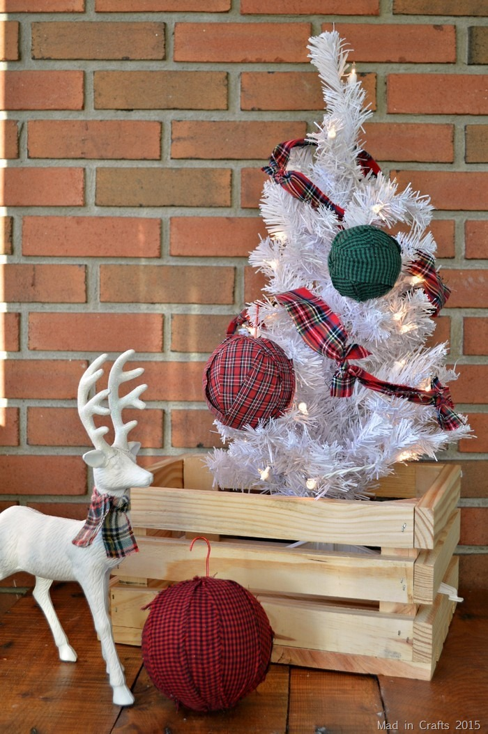 DIY plaid rag ball Christmas ornaments (via madincrafts.com)